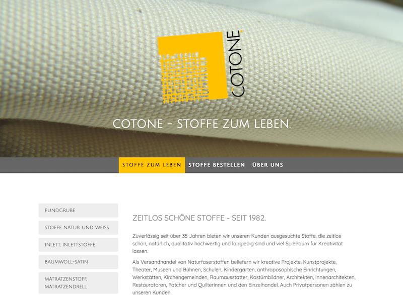 Webseite: Cotone - Stoffe zum Leben.