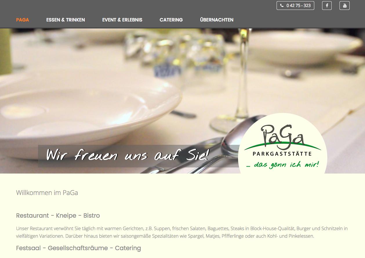 Webseite: PaGa Parkgaststätte